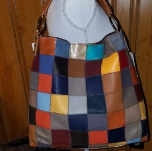 KOOBA NEW WITH TAGS LARGE PATCHWORK MULTI HOBO